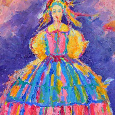 polska sztuka ludowa dziewczyna w stroju ludowym