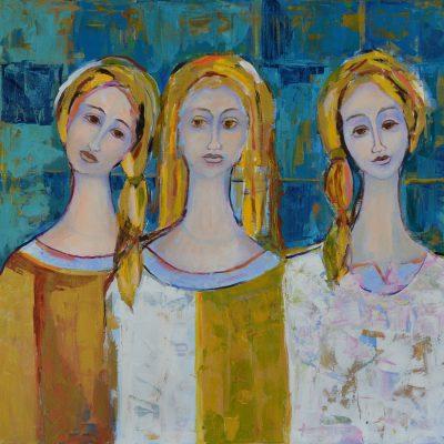Trzy anioły obraz akrylowy na płótnie