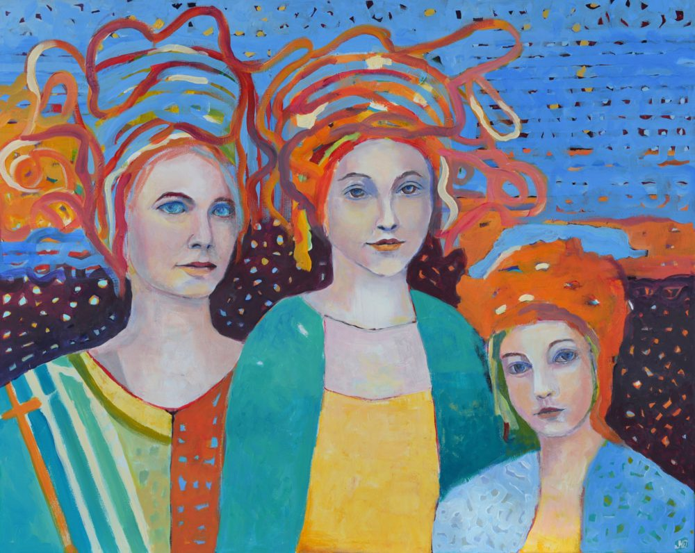 Obraz Trzy anioły Kolorowy obraz na płótnie