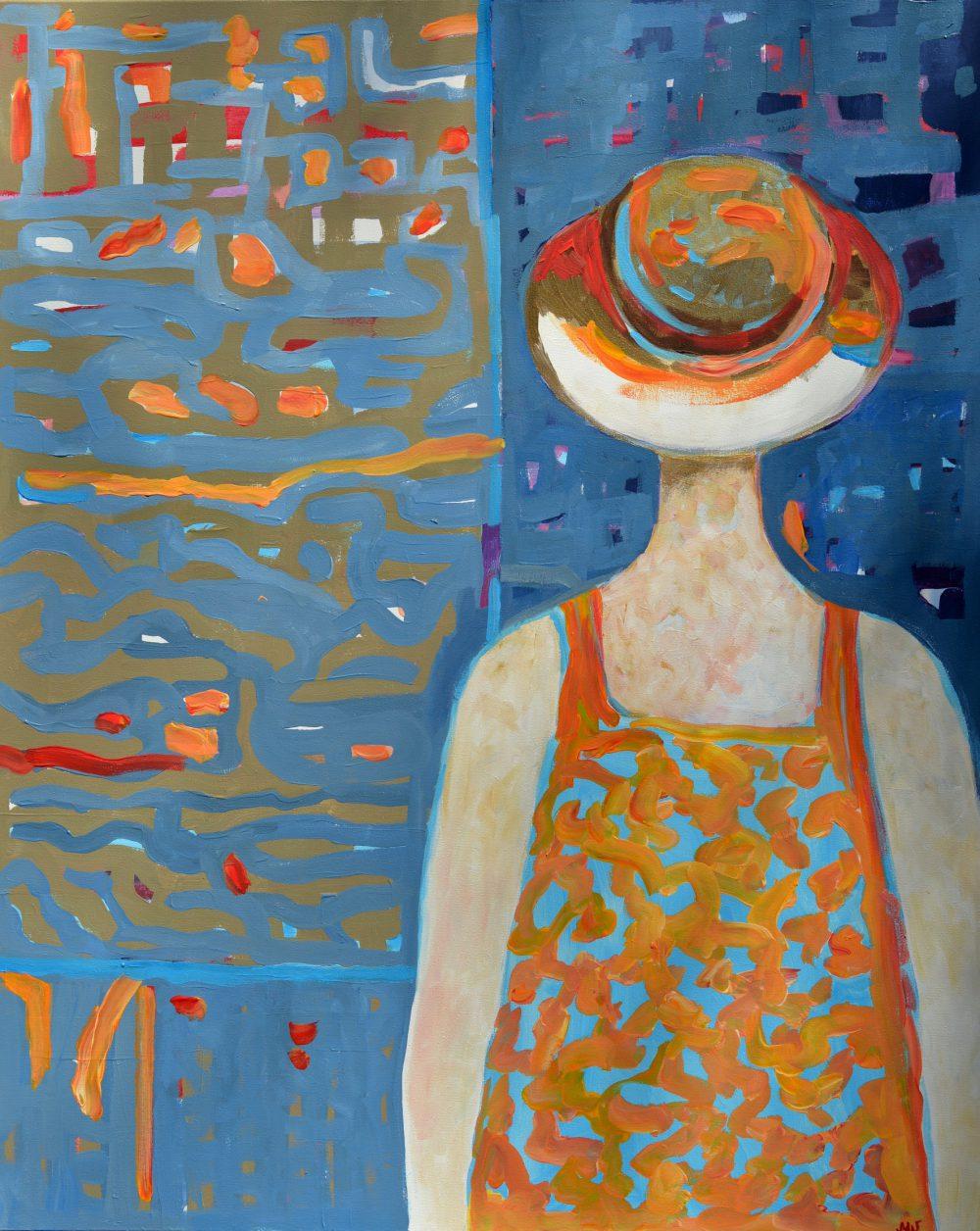 Duży obraz nowoczesny postać kobiety akryl na płótnie