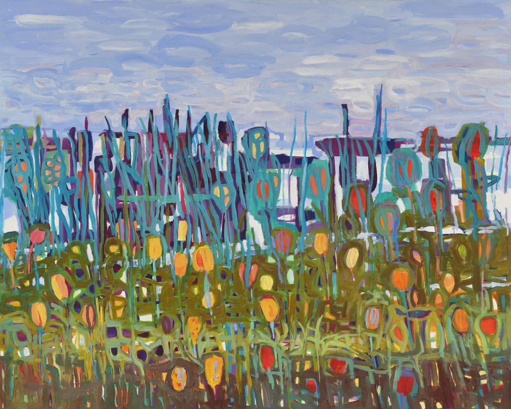 Pejzaż abstrakcja obraz akrylowy Nad jeziorem