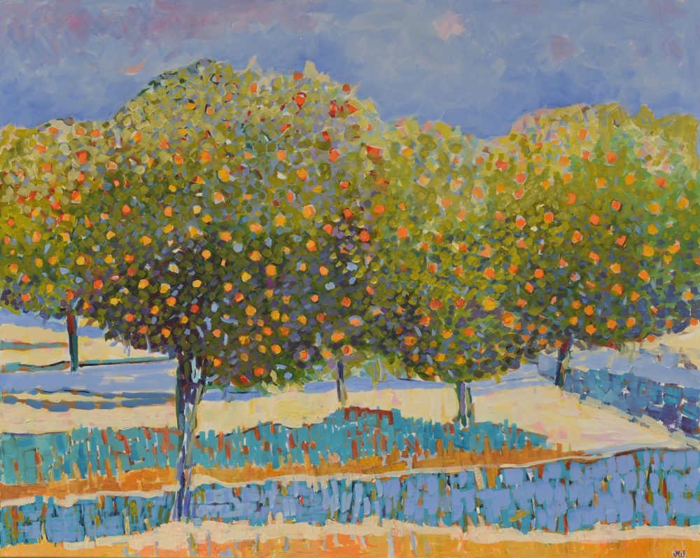 obraz akrylowy drzewa pomarańczowy gaj