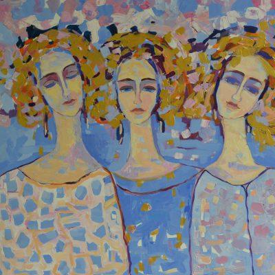 Trzy anioły obrazy Obraz akrylowy na ścianę