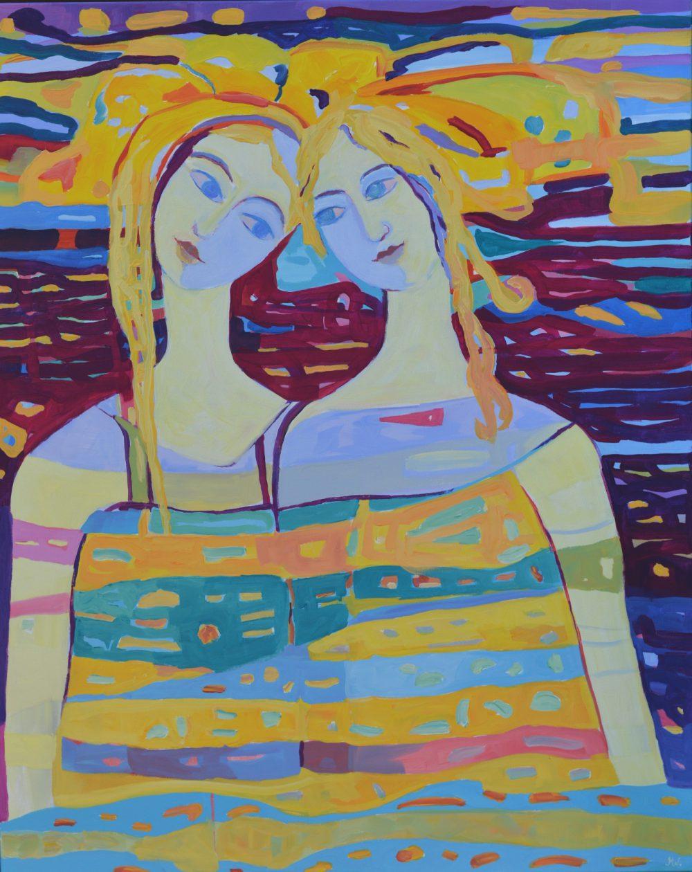 Żółty obraz na ścianę Dwie postacie akryl