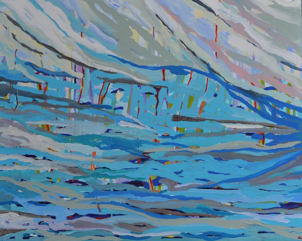 Obraz pejzaż abstrakcja Deszcz na rozlewiskiem