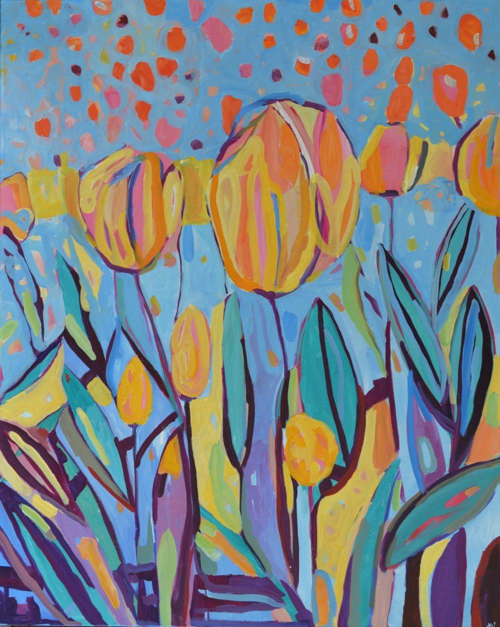 Obraz żółte tulipany Nowoczesny obraz do przedpokoju